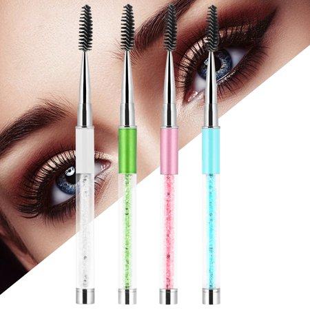4 Colors Rhinestone Handle Makeup Eyelash Mascara Brush Spiral Wands Applicator , Eyebrow Brush, Eyebrow Comb
