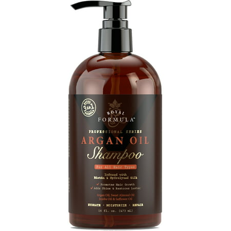 Royal Formula - Argan Oil Shampoo with Biotin for Thinning Hair - Sulfate Free - Volumizing Safe For Colored & Keratin Treated Hair - Regrowth for Men and Women 16 Fl. Oz
