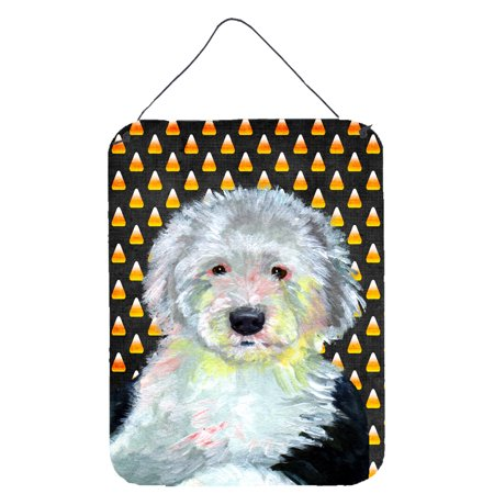 Old English Sheepdog Candy Corn Halloween Portrait Wall or Door Hanging - Halloween Portraits