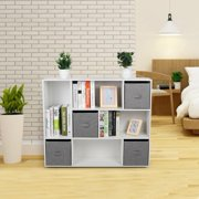 LYUMO Cube Bookcase Bookshelf with 8 Cubby Shelves 4 Bin Drawers for Home Office