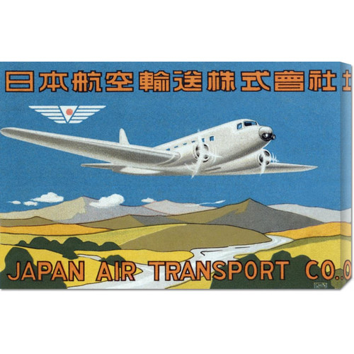 Global Gallery 'Japan Air Transport Label' by Retro Travel Vintage Advertisement on Wrapped Canvas