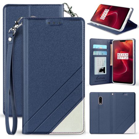 OnePlus 6T Case, New Infolio Wallet Credit Card Slot ID Cover, View Stand [with Wrist Strap Lanyard] for T-Mobile OnePlus 6T (A6010/A6013) ()