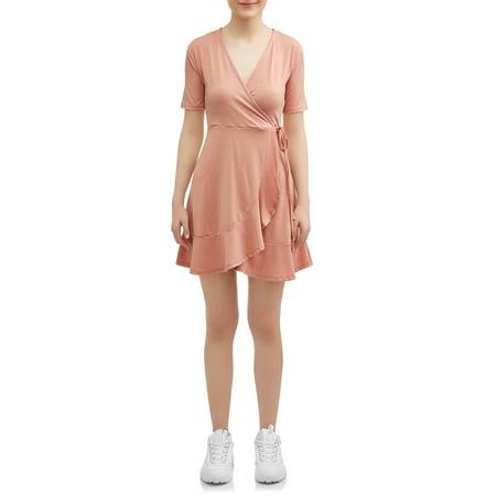 Poof Apparel Juniors Wrap Ruffle Dress