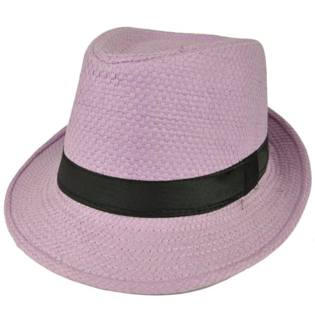 Fedora Lavender Large Hat Diamond Top Black Pimp Gangster Straw Trilby Gatsby