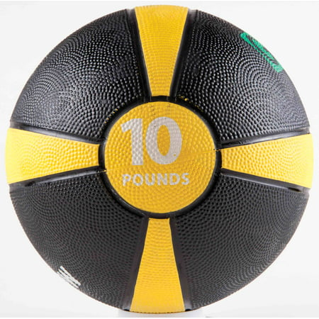 Rubber Medicine Ball with Training Manual - 10lb Yellow/Black