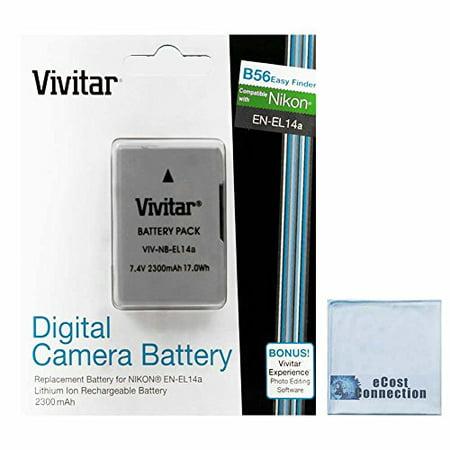 Vivitar EN-EL14A EN-EL14 2300mAh Replacement Li-ion Battery For Nikon D3100, D3200, D3300, D5100, D5200, D5300, D5500, Coolpix P7000, P7100, P7700, P7800, Df Cameras & other Models + eCostConnection