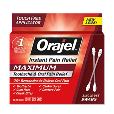 Orajel Force maximale Medicated Toothache écouvillons, 12 Ea, 6 Pack