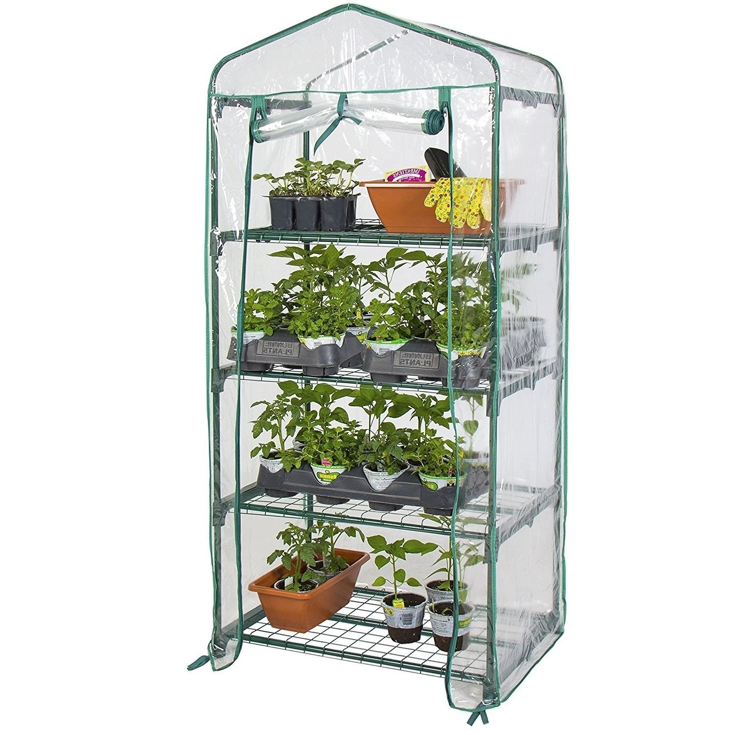 """Greenhouses Kits 4Tier Indoor Small Green House For Plants With Clear PVC Cover 27""""x 18""""x 63\ by"""