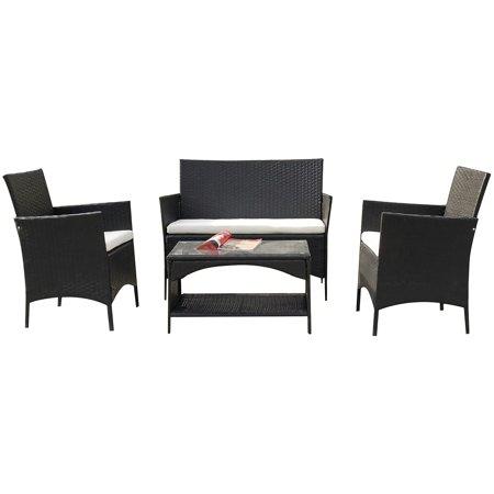 TKOOFN 4PCS Rattan Patio Furniture Set Outdoor Garden Cushioned Seat Wicker Sofa Black ()