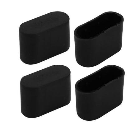Unique Bargains 4pcs Furniture Desk Chair Foot Oval Rubber Tip Cap Fit for 34mmx16mm Leg Black ()