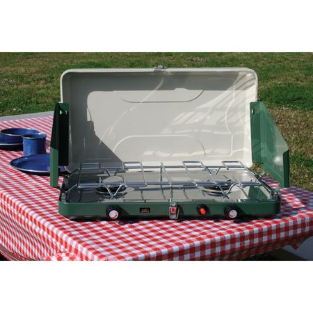 Texsport High Output Dual Burner Piezo Igniter Propane Stove (Green)
