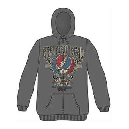 Grateful Dead Men's  American Music Hall Zippered Hooded Sweatshirt Grey](Grateful Dead Hoodie)