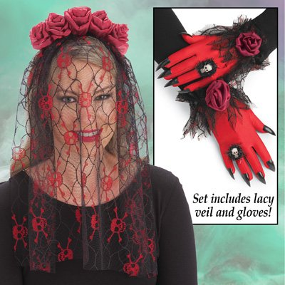 Lacey Halloween Skull & Roses Veil and Glove Costume Set - Perfect for Halloween Party Halloween Wedding Accessories, Black/Red, One Size Fits All - Halloween Rose