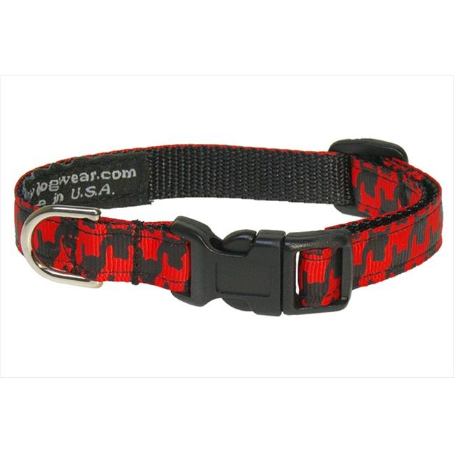HERRINGBONE-POPPY-BLK.1-C Houndstooth Dog Collar, Poppy & Black - Extra Small