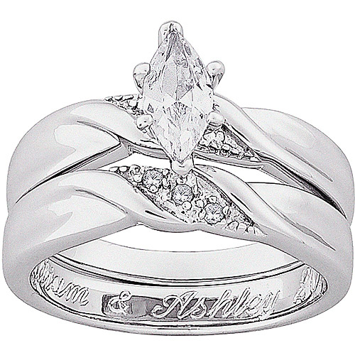 Personalized PlatinumPlated Marquise Cubic Zirconia with Diamond