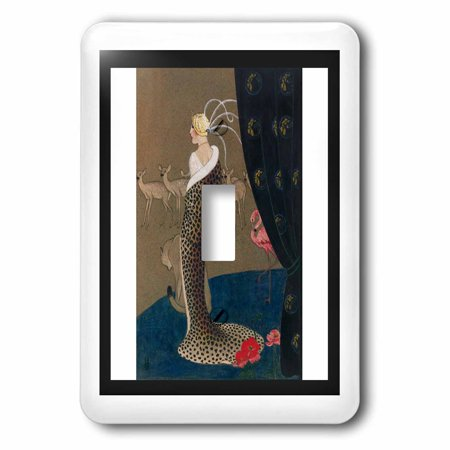 3dRose Print Of WPA Art Deco Woman In Cheetah Coat With Animals, Double Toggle Switch