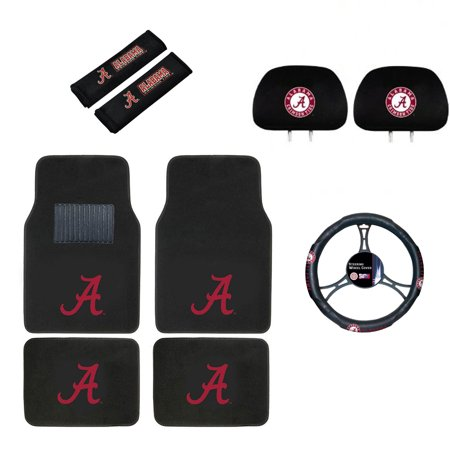 Alabama Crimson Tide Floor Mat, Headrest Wheel Cover and Shoulder Pads Gift Set