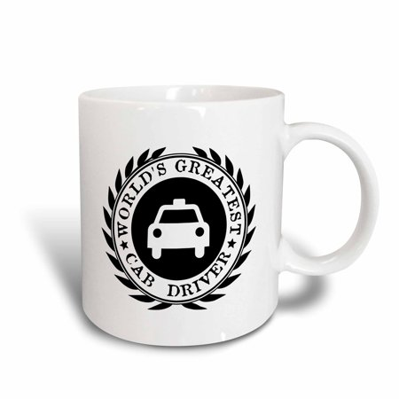 3dRose Worlds Greatest Cab Driver. Taxi good work recognition award Job gifts - Ceramic Mug, 11-ounce