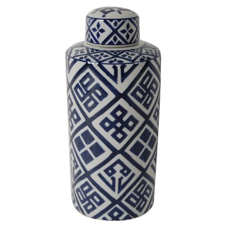 A&B Home Valora Blue And White Ceramic Cylinder Jar With (Ceramic Lidded Jar)