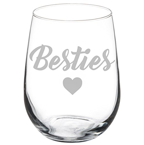Wine Glass Goblet Best Friend Besties 17 Oz Stemless Walmart Com Walmart Com