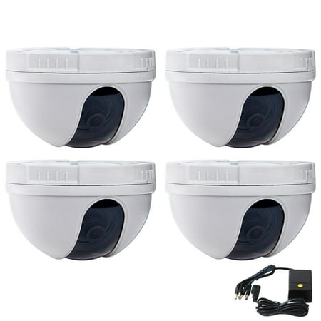 VideoSecu 4x Dome CCD Wide Angle Security Camera 420TVL Home Video Surveillance with 4CH Power and Warning Decal BLV