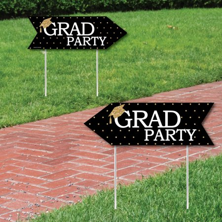 Gold - Tassel Worth The Hassle - Graduation Party Sign Arrow - Double Sided Directional Yard Signs - Set of 2
