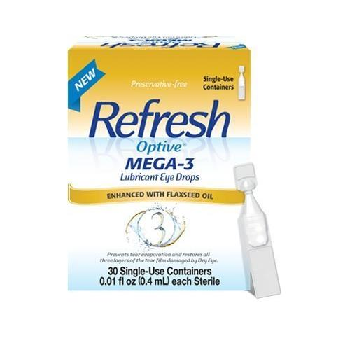 2 Pk Refresh Optive Mega-3 Lubricant Eye Drops 30 Single-Use Containers 60 Total