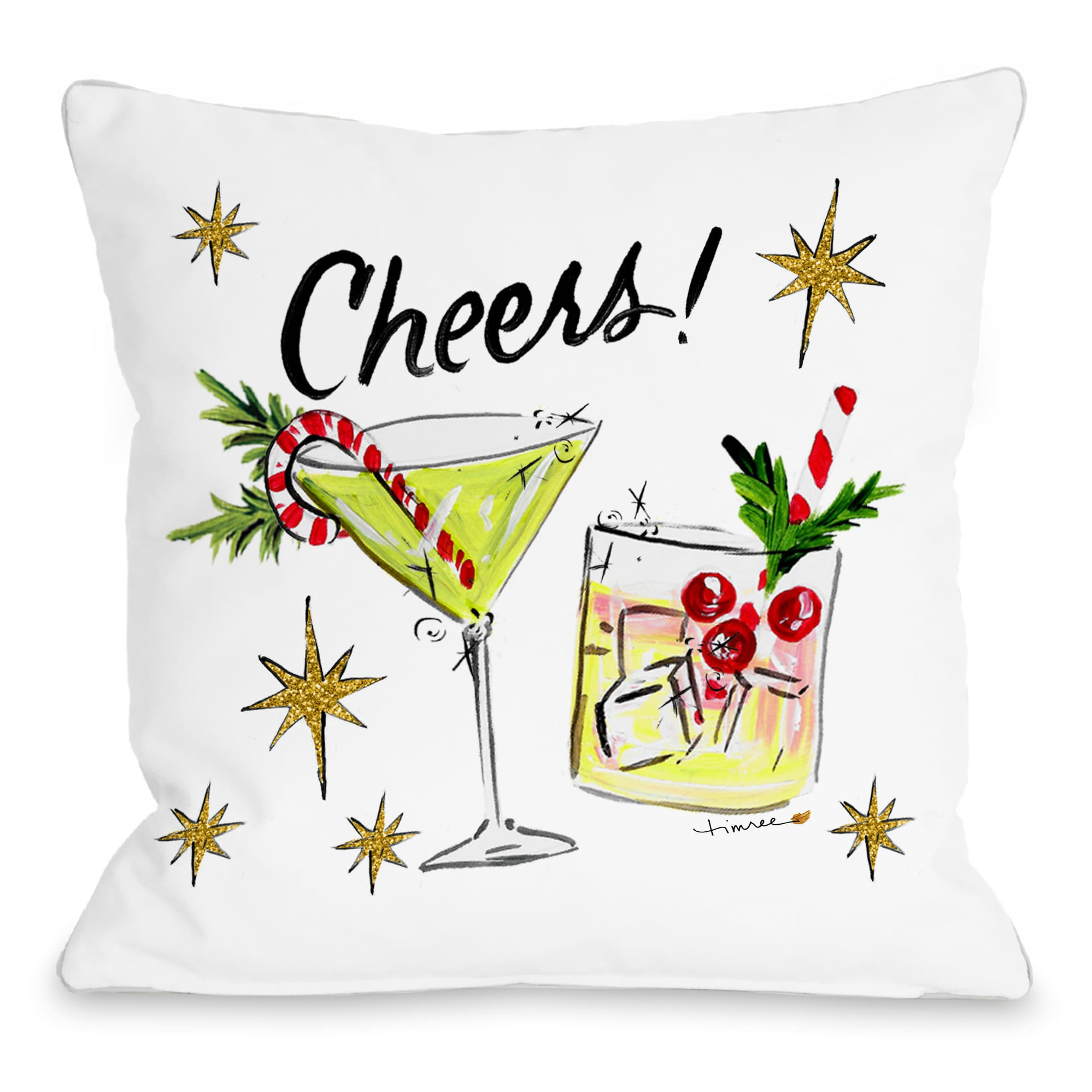 Christmas Cocktails - Multi 16x16 Pillow by Timree Gold