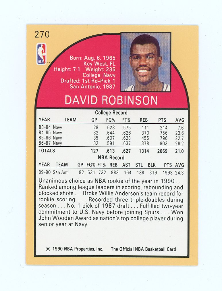 1990 91 Hoops 270 David Robinson Rookie Of The Year San Antonio Card