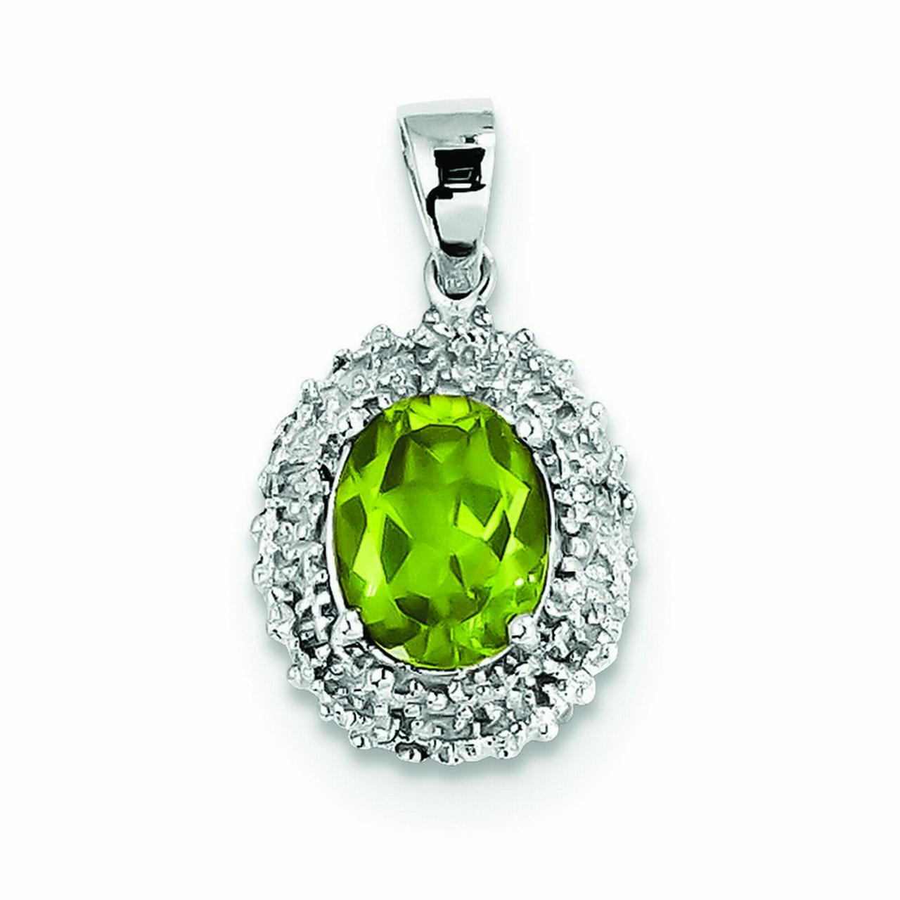 Sterling Silver Rhodium Peridot and Diamond Pendant - .01 dwt 1.70 cwt