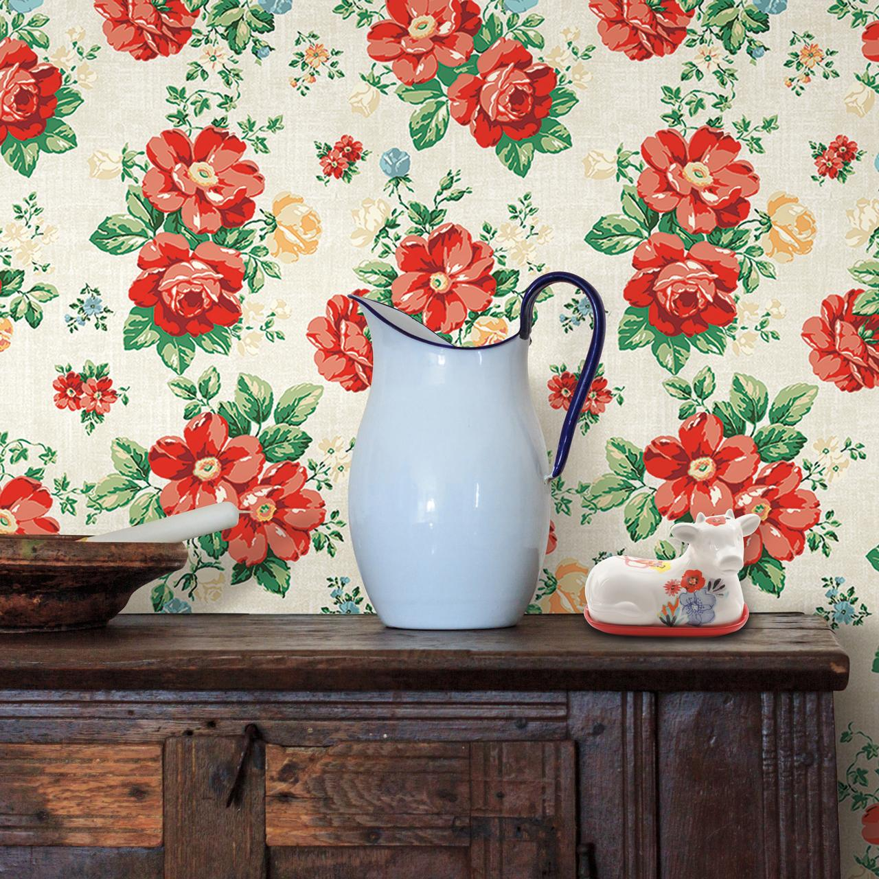 The Pioneer Woman Beige and Red Peel and Stick Wallpaper ...