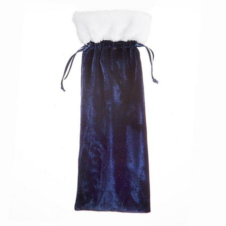 Darice Velvet Wine Bag: Navy, 5.5 x 14.5 inches