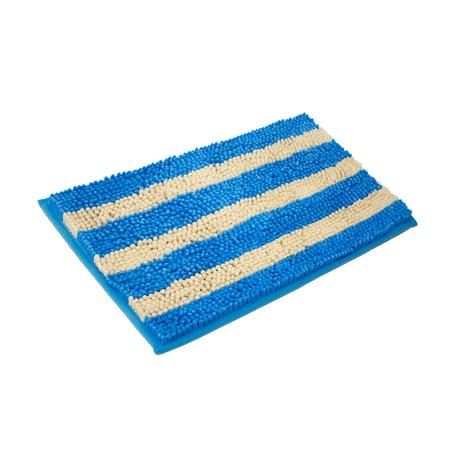 """Cabana Stripe Chenille Yarn Bath Mat, 20""""x32"""", Blue"""