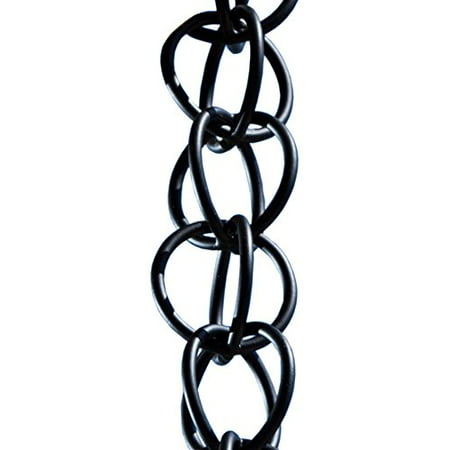 Monarch Ring Rain Chain, 8-1/2 Feet Length, Aluminum Flat Black Powder Coated Brass Rain Chain