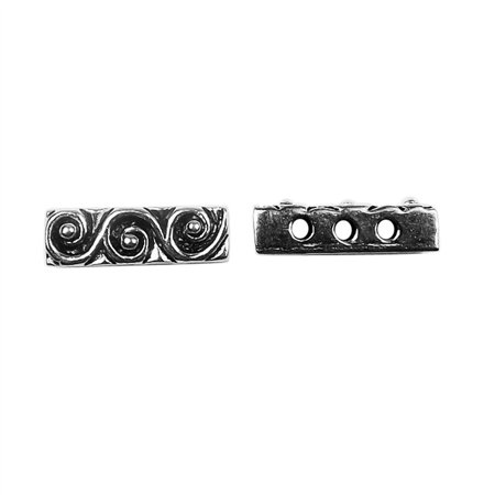 Bar 3 Strand - CSF-466 Silver Overlay Multi Strand With Scroll Pattern Spacer Bar With 3 Hole