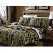 Chezmoi Collection Salem 4-Piece Forest Woods Camo Tree Sheet Set