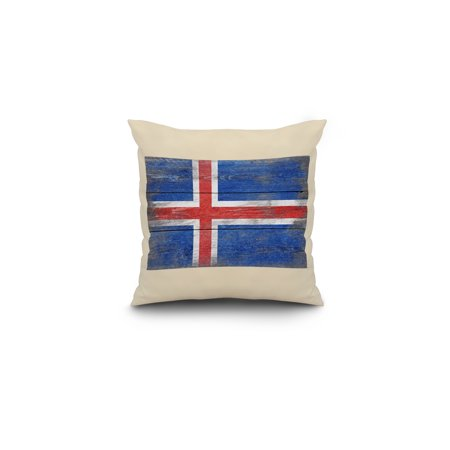 Rustic Iceland Country Flag Lantern Press Artwork 16x16 Spun Polyester