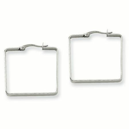 Stainless Steel 30mm Square Hoop Earrings SRE124 - image 2 de 2