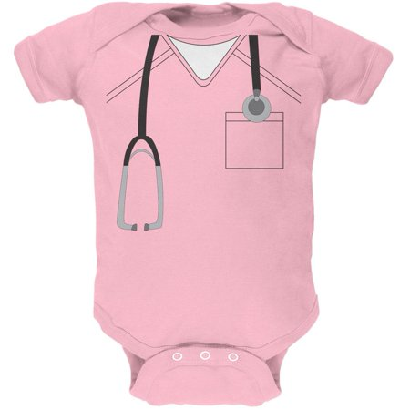 Halloween Doctor Scrubs Costume Light Pink Soft Baby One Piece