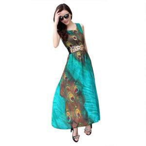 EFINNY Women Peacock Print Beach Maxi Long Dress - Peacock Themed Dresses