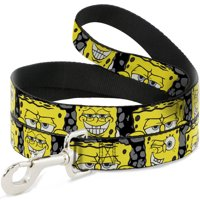 Dog Leash Spongebob 4 Close Up Expressions Crackle Black Gray Yellow 4 Feet Long 0.5 Inch Wide