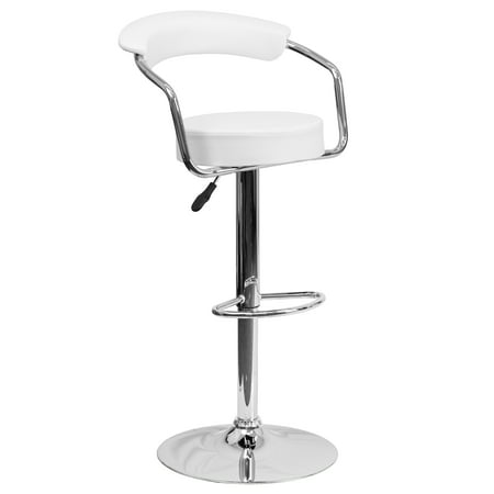 Flash Furniture Contemporary Vinyl Adjustable Height Barstool with Arms and Chrome Base, Multiple (White Bar Stools With Backs And Arms)