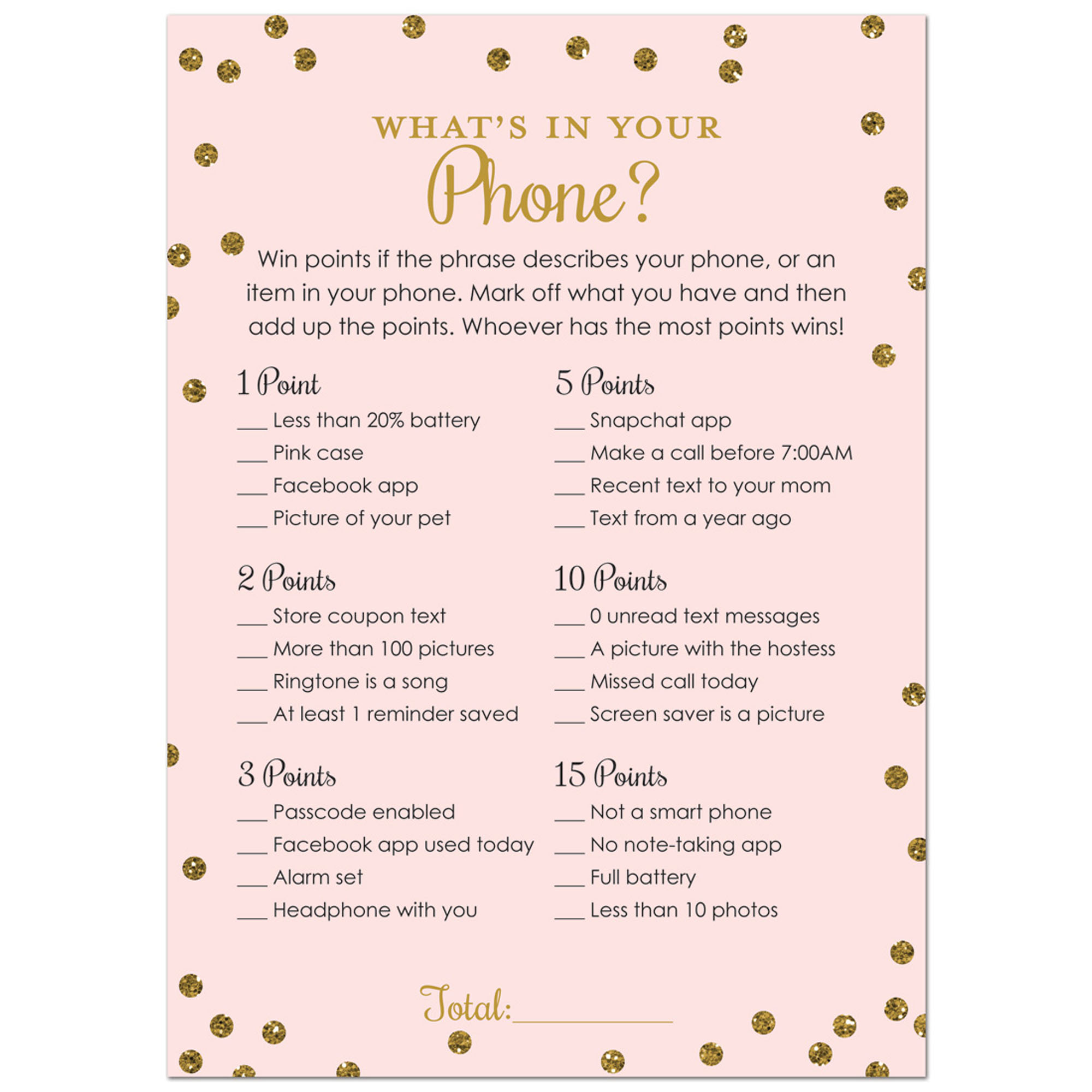 What's in Your Phone Bridal Shower Game -  Faux Gold Glitter on Pink - 24 Cards