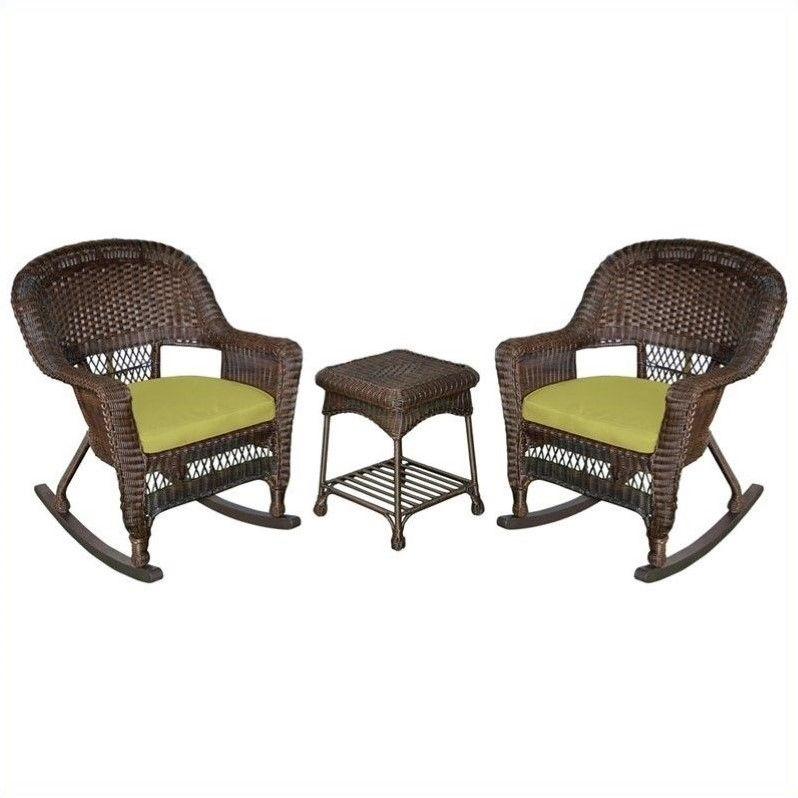 Jeco 3pc Wicker Rocker Chair Set in Espresso with Green Cushion by Jeco Inc.