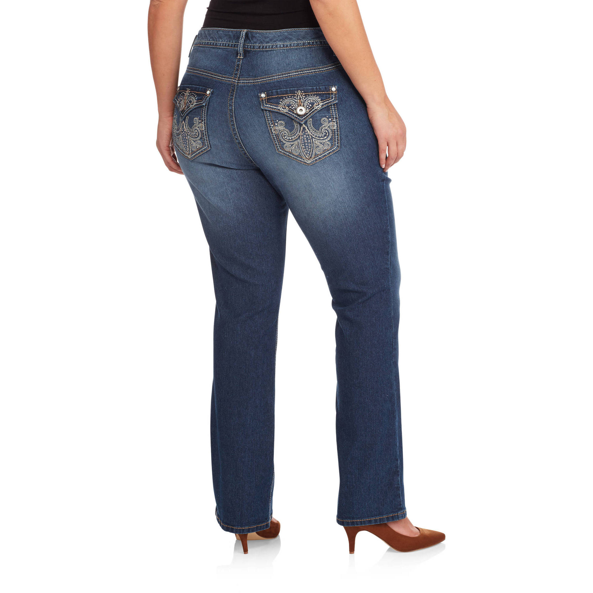 Faded Glory Women's Plus-Size Embellished Jeans