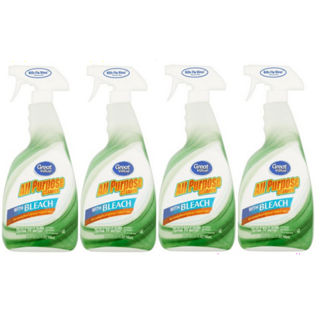 (4 Pack) Great Value All Purpose Cleaner with Bleach, 32 fl oz