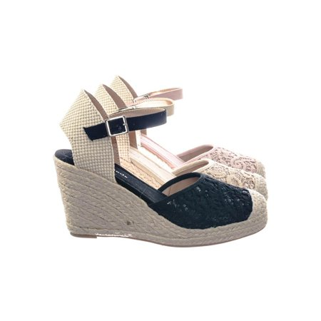 Queena by City Classified, Espadrille Platform Wedge w Floral Crochet Lace w Sequins - Platform Shoes From The 70s