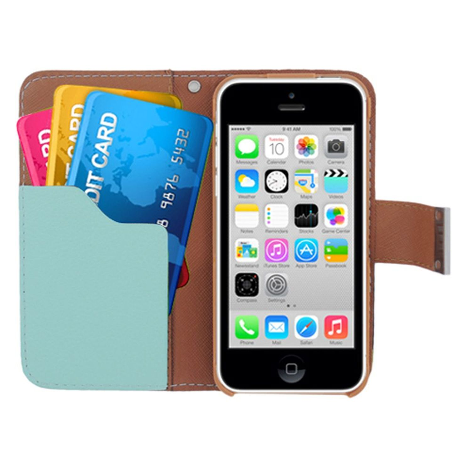 Insten Multicolor Folio Flip Leather [Card Holder Slot] Wallet Pouch Case Cover For Apple iPhone 5C, Blue/Green