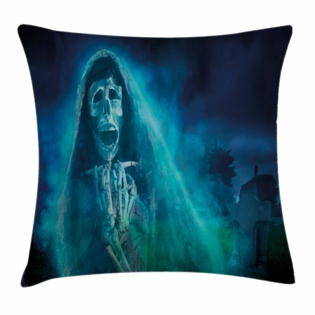 Halloween Decorations Throw Pillow Cushion Cover, Gothic Dark Backdrop with a Dead Ghost Skull Mystical Haunted Horror Theme, Decorative Square Accent Pillow Case, 16 X 16 Inches, Blue, by Ambesonne](Halloween Main Theme Mp3)