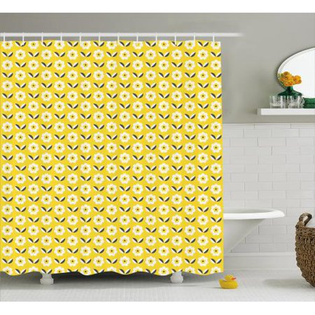 Flower Shower Curtain Retro Floral Spring Pattern With Contrast Leaves And Petals Fabric Bathroom